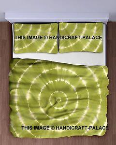Indian Tie Dye Shibori Bedspread Cotton Mandala King Bedding & Two Pillow Covers