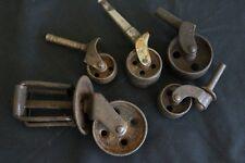 5 Antique Steel Wheel Casters Steampunk Industrial Repurpose