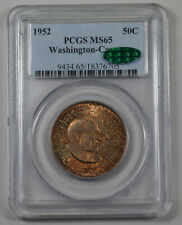 1952 Washington Carver Half Dollar PCGS MS65 CAC PQ dual rainbow toned monster!