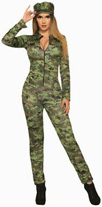Sexy Green Army Camo Jumpsuit Adult Female Womens Costume NEW