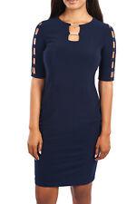 Joseph Ribkoff Midnight Blue Cage Arm Sheath Dress U.S 10 UK 12 163005* NEW