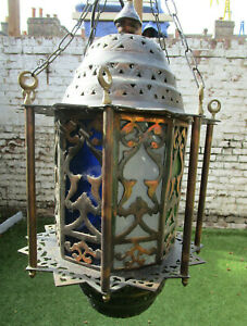 Antique Ornate Morrocan Copper Brass Coloured Glass Lantern Turkish Middle East
