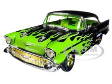 1957 CHEVROLET BEL AIR HARD TOP BLACK W/FLAMES 1/24 M2 MACHINES 40300-59B