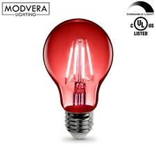 Dimmable Red LED Light Bulb A19 3 Watt E26 Base Clear Glass Lights Up Red