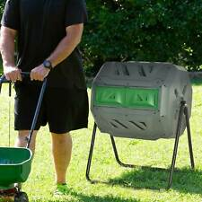 More details for outsunny outdoor tumbling compost bin w/ dual chamber, sliding doors, grey