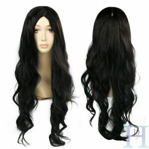 Black Natural Curly Long Middle Part Wavy Synthetic Hair Wigs For Fashion Women