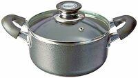 2.5 Quart Non Stick Aluminum Sauce Pot With Vented Glass Lid - Dark Gray