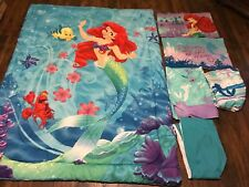Disney The Little Mermaid Blue Twin Comforter Sheets Pillowcases 6 Pc Bedding