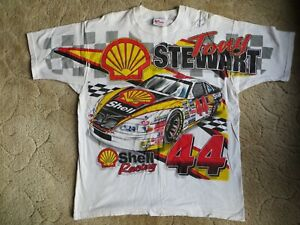 Tony Stewart #44 AUTOGRAPHED Shell Chase XL White NASCAR Shirt New