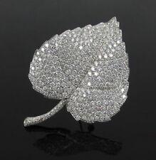 Fine 9.30ct EF/VVS Diamond & 18K White Gold Leaf Design Brooch