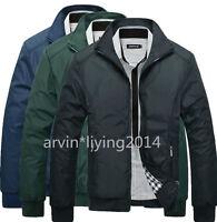 Men Jacket Spring Coat Outwear Mens Slim Collar Casual Black Blue SIZE XS M L XL