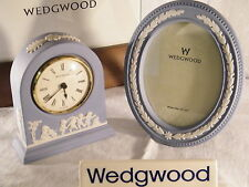 Wedgwood Blue Jasper Ware Large Dome Clock & Matching  Picture Frame, Superb !.