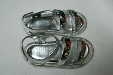 Toddler Girls Shoes Silver Glitter Strappy Sandals Open Toe Easy Fasten Size 8