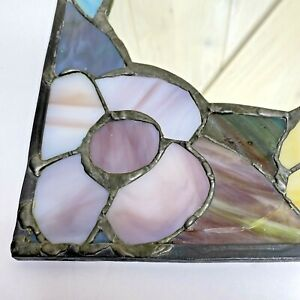"""Stained Glass Framed Wall Mirror 13.25"""" x 8.75"""" Floral Lead Trim Vintage"""