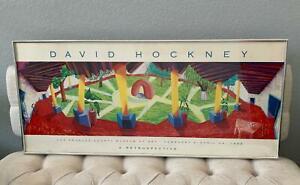DAVID HOCKNEY 1988 LACMA A Retrospective POSTER Offset Lithograph Framed VTG ART