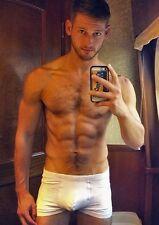 Shirtless Male Jock Ripped Abs Hairy Chest Guy w/ Beard Selfie PHOTO 4X6 C608