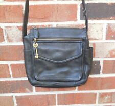 Fossil Pebbled Leather Organizer Black Unisex 1954 CrossBody Shoulder Bag ZB8056