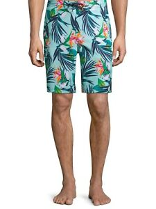 """George Men's 9"""" Novelty E-board Swim Trunk with Tropical Florals, Spearmint, XL"""