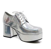 Ellie 312-PIMP Silver Hologram Disco Costume Cosplay Block Heel Platform Oxford