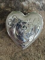 """Vintage Sterling Silver 925 Western Engraved Heart Pin Brooch by Fleming 1.25"""""""
