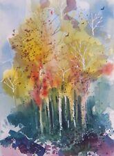 """ASPENS"" original watercolor by American artist Micheal Jones"