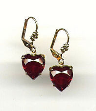 Beautiful Victorian Bohemian Garnet ❤️ Heart cut-crystal Earrings 14K Gold gp