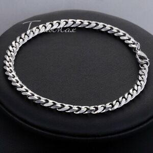 """5MM 10"""" Curb Cuban Link Anklet Bracelet Silver Stainless Steel Chain for Women"""
