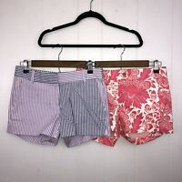 J Crew Women's Lot Of 2 Shorts City Fit Chino Seersucker Pink Purple Size 0 NWT