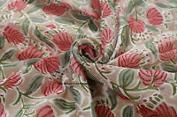 100% Cotton By Yard Indian Hand Block Flower Print Fabric Material Beige Fabric