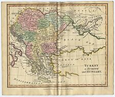 c1825 Hungary Serbia Romania Bulgaria Albania Greece Genuine Antique Map Adams