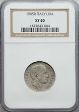 "ITALY KINGDOM  1905-R  1 LIRA SILVER COIN, ""KEY-DATE"", NGC CERTIFIED XF40"