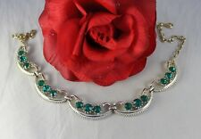 Vintage Green   Rhinestone Gold tone Necklace FERAL CAT RESCUE