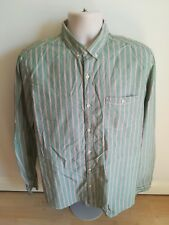 Men's NEXT Green/Red Striped Long Sleeve Oxford Shirt w/ Button Collar Large/L