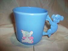 Vintage Childs Blue Plastic MIlk Cup Animal Handle Irwin USA Dog Teddy Bear