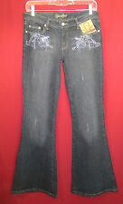 Younique Stretch Gray Black Bead Embellished Flare Leg Jeans 5 NWT Super Cute