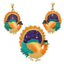 Colorful Turkey Earrings Brooch Pin Pendant Set Thanksgiving Fall Jewelry