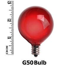 25 Red Bulbs Vintage G50 Patio Lights Red 7 watt 130Volt E17 Brass