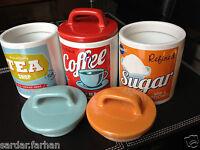 SET OF 3 RETRO CLASSIC 50's 60's STYLE CERAMIC TEA COFFEE SUGAR CANISTERS/JARS