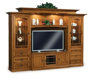 Amish TV Entertainment Center Solid Wood Media Wall Unit Cabinet Storage New