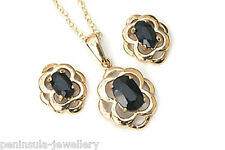 9ct Gold Sapphire Celtic Pendant Necklace and Stud Earring Made in UK Gift Boxed