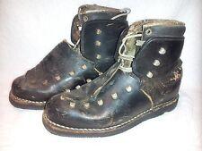 Vintage RARE Leather Ski Boots France Mountain back Sking  Grenoble Allegro