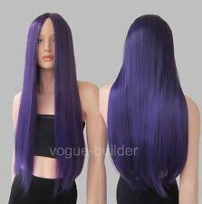 28 inch Long Heat-resistant Dark Purple Midpart No Bangs Straight Cosplay Wig