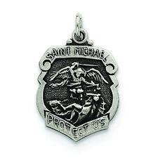.925 Sterling Silver St. Michael Badge Medal Charm Pendant MSRP $55