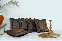 Noir Ethnique Indien Mandala Soie Brocade Housse Coussin Handmade 40.6cm Zip Dos