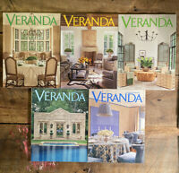 Veranda Magazine Lot of 5 Back Issues 2009 - March through August, Nov-Dec
