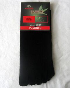 1 Paar Damen Bambus Zehensocken Hygienesocken Zehenstrumpf schwarz 42 bis 46