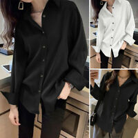 UK Womens Long Sleeve Button Down Shirt Ladies OL Work Casual Loose Blouse Tops