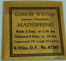 Illinois Watch Co Pocket Watch Main Spring Size 6/0 O. F. No 47365 NOS