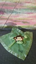Fisher Price Green Leaf Monkey Baby Blanket Rainforest Satin Security Lovey toy