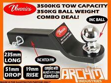 VONNIES 3500KG 235mm TRAILER TOW BAR TONGUE HITCH 51mm DROP inc BALL+PIN